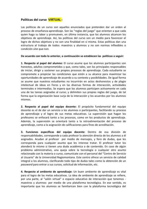POLÍTICAS DEL CURSO  VIRTUALES NUEVO MODELO-8