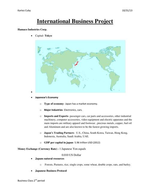 International Business Project 2nd period