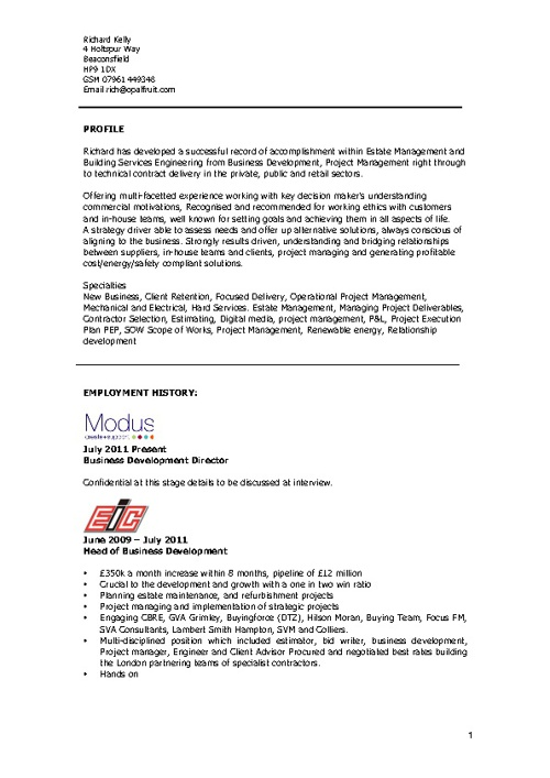 Richard Kelly CV
