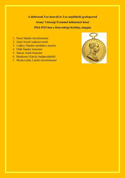 3-as honvédezred Arany Vitézségi Éremmel kitüntettjei