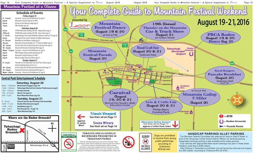 2016 Tehachapi Mountain Festival at a Glance