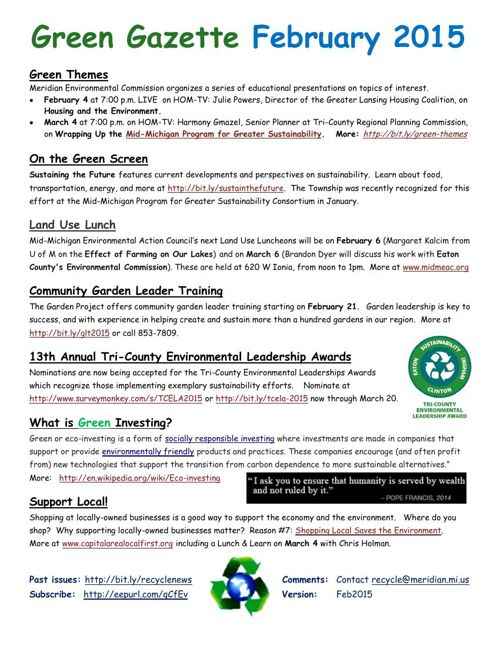 Green Gazettes:  January - June 2015