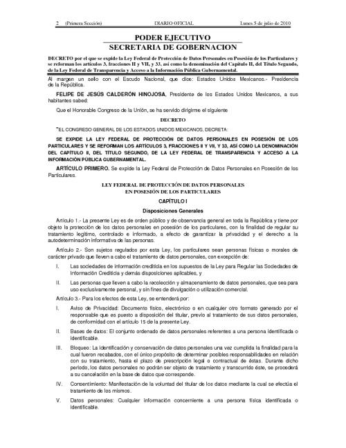 Ley Protección Datos Personales en Posesión de los Particulares