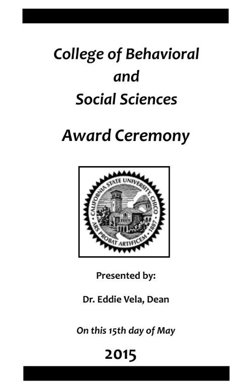The May 2015 Award Ceremony Program