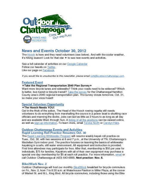 Outdoor Chattanooga News and Events Oct. 30, 2012