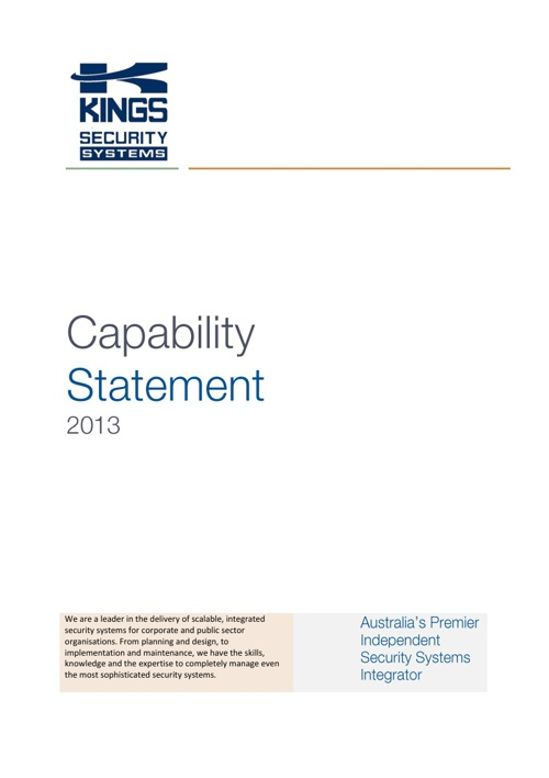 KINGS Security Capability Statement 2013