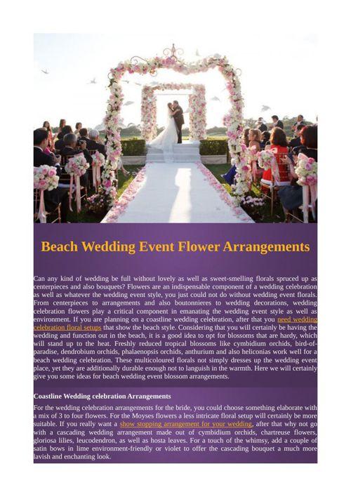 Beach Wedding Event Flower Arrangements