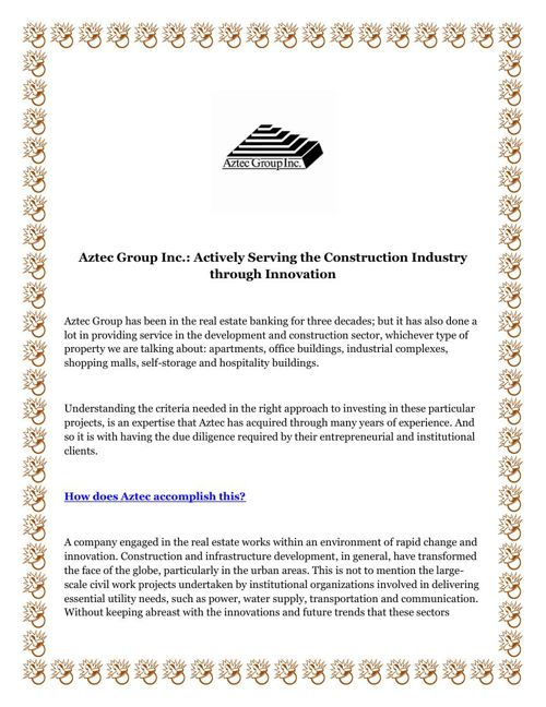 Aztec Group Inc Actively Serving the Construction Industry throu