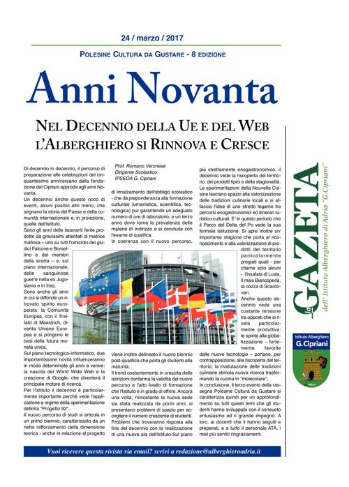 """GAZETA IPSEOA """"G.Cipriani"""" Adria del 24 Marzo 2017"""