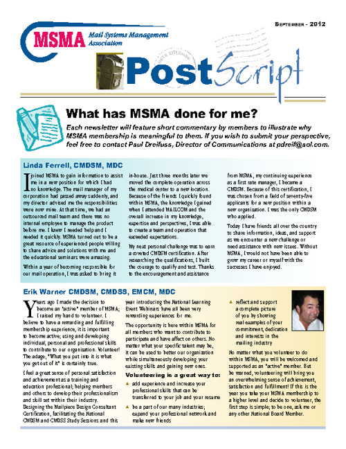 MSMA September 2012 Postscript Newsletter