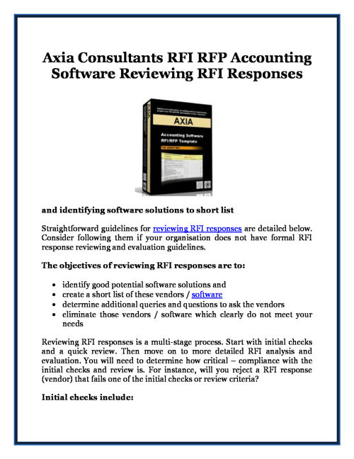 Axia Consultants RFI RFP Accounting Software Reviewing RFI Respo
