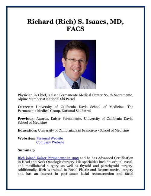 Richard (Rich) S. Isaacs, MD, FACS
