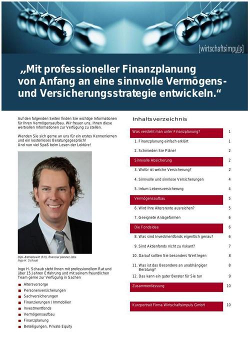 """Infobroschüre """"Was ist Finanzplanung?"""""""