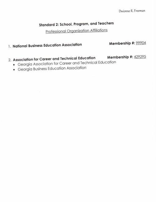 Standard II--Teacher Professional Affiliations (Freeman)