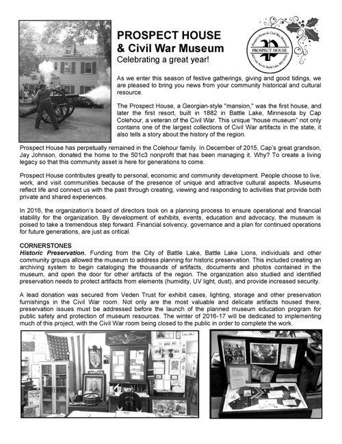 Prospect House Museum Newsletter
