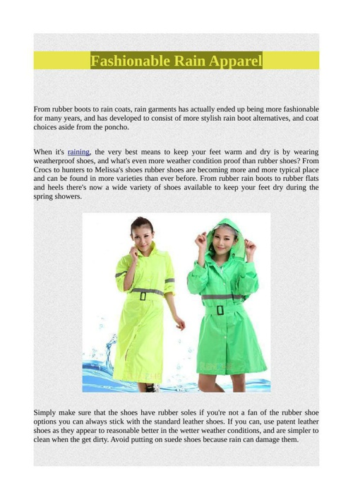 Fashionable Rain Apparel
