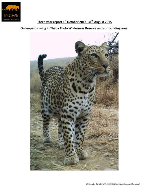 Leopard research report 2012 - 2015