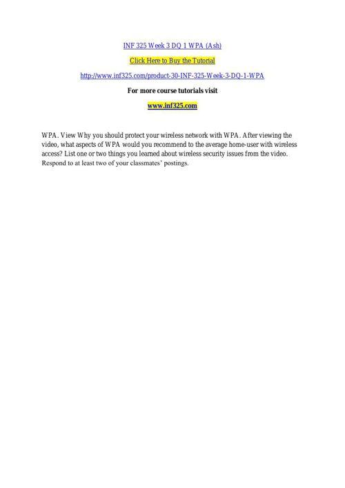 INF 325 Week 3 DQ 1 WPA (Ash)