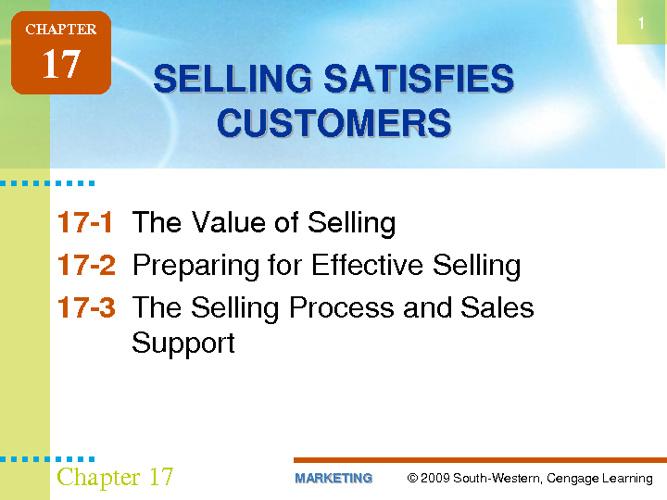 Selling Satisfies Customers