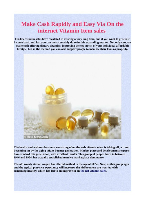 Make Cash Rapidly and Easy Via On the internet Vitamin Item sale