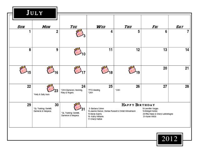 Master Calendar (Revised September 5)
