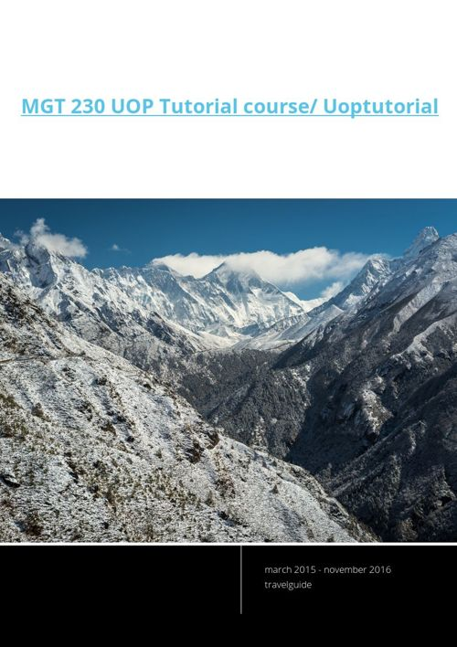 MGT 230 UOP Tutorial course/ Uoptutorial