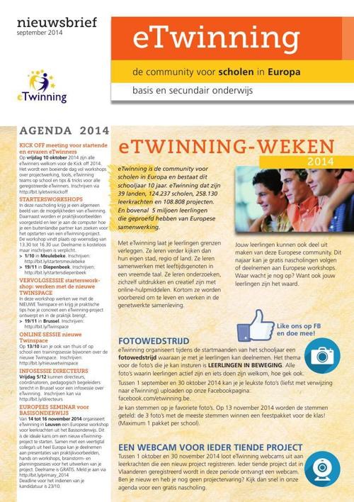 Nieuwsbrief eTwinning september 2014