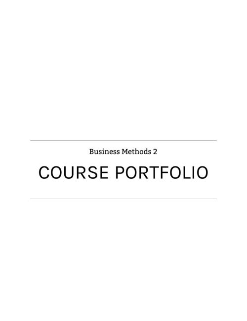 Assignment 2 Course Portfolio