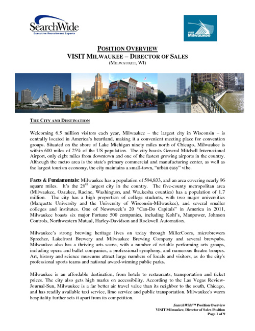 VISIT Milwaukee Position Overview - Director of Sales
