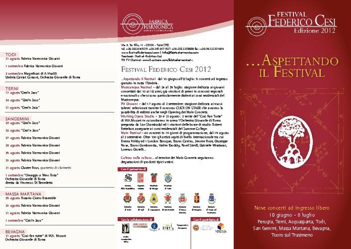 """brochure concerti """"anteprima festival federico cesi"""""""