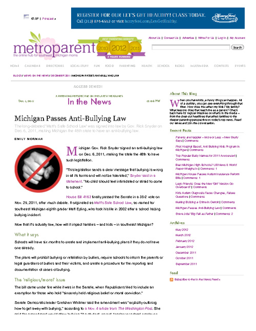 Metro Parent Blog on Bullying