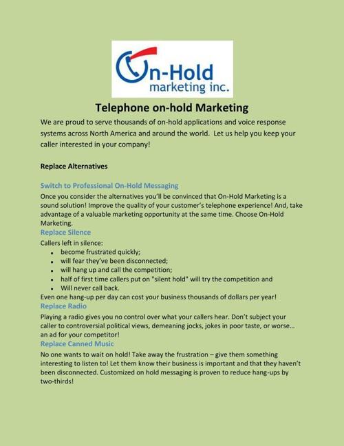 Telephone on-hold Marketing