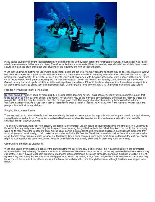Tips For Beginner Scuba Divers How To Control Panic or Anxiety A