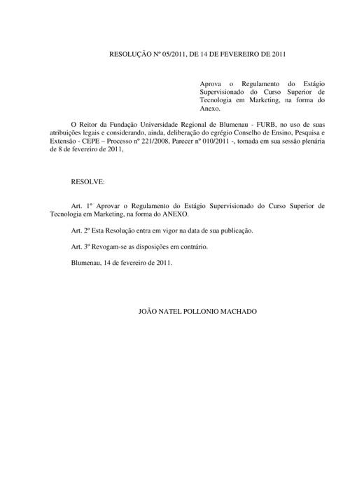 REGULAMENTO DE ESTÁGIO DO CURSO DE TECNOLOGIA EM MARKETING