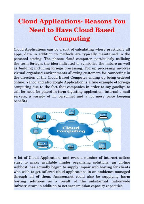 Cloud Applications- Reasons You Need to Have Cloud Based Computi