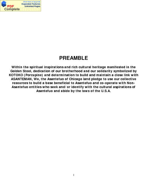 Asanteman Association Chicago & Midwest Constitution