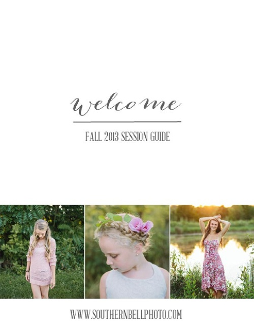 SOUTHERN BELL PHOTOGRAPHY: FALL 2013 PRICING GUIDE