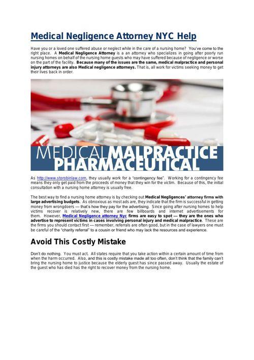 Medical Negligence Attorney NYC