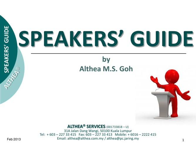 Speakers' Guide