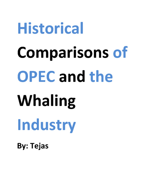 Historical Comparisons of OPEC and the Whaling Industry