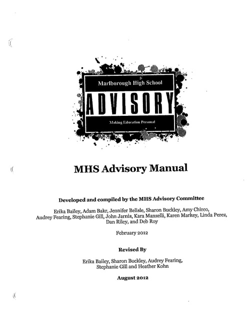 Marlborough High School Grade 11 Advisory Manual