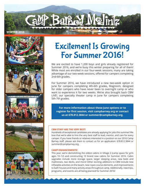 Camp Barney Medintz Newsletter Winter 2016