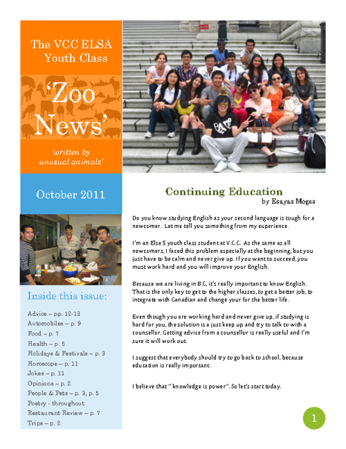 The 'Zoo News', October 2011 edition, VCC ELSA Youth Class