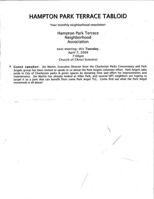 HPT Newsletter April 2009