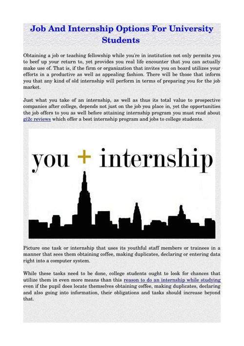 Job And Internship Options For University Students