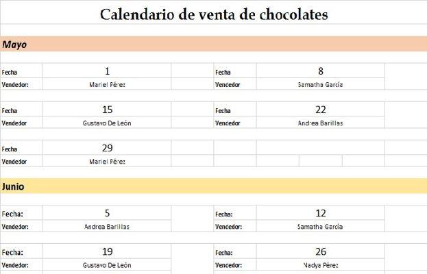 Venta de chocolates