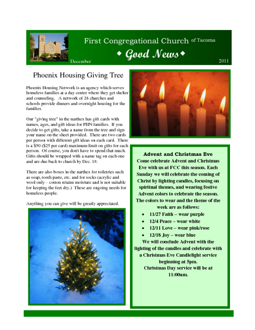 December 2011 Good News Newsletter
