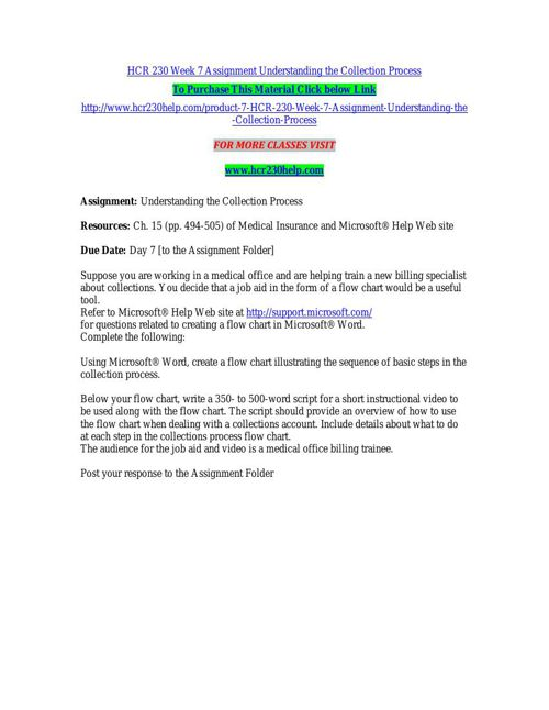hcr 230 understanding the collection process Hcr 230 week 7 assignment understanding the collection process get tutorial by clicking on the link below or copy paste link in your browser  .