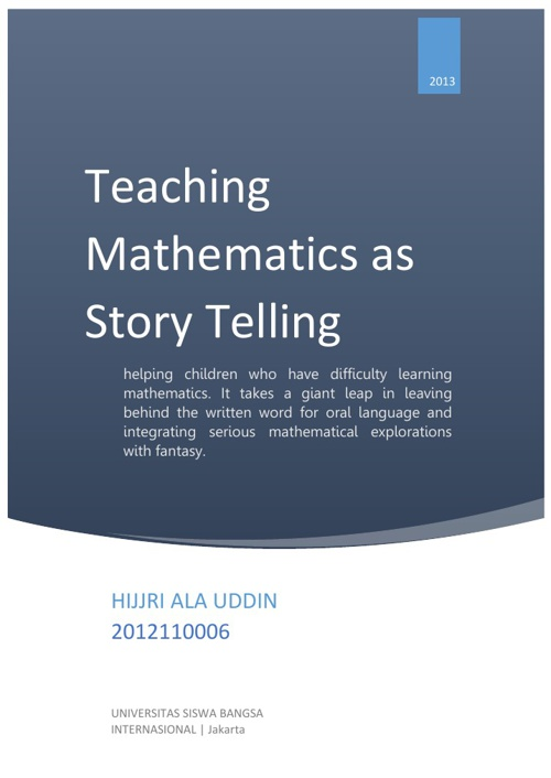 Teaching Mathematics as Story Telling