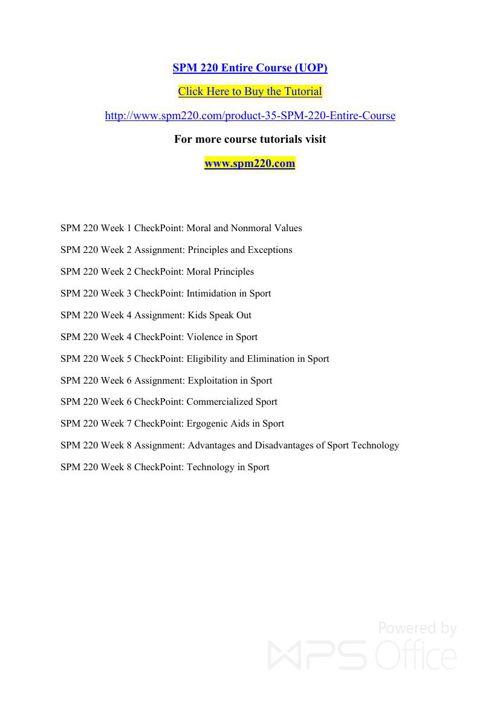 SPM 220 Entire Course (UOP)
